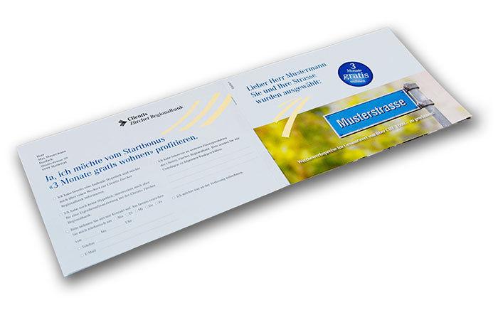 Brochure avec personnalisation des photos pour la banque régionale zurichoise Clientis Zürcher Regionalbank