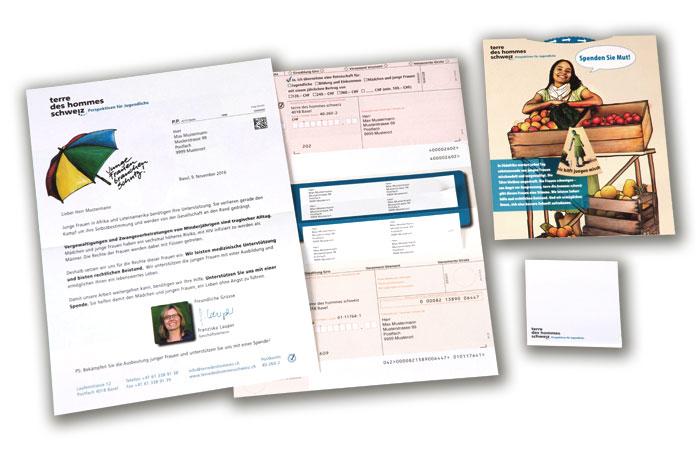 Mailing sous pli avec contenu personnalisé pour terre des hommes suisse
